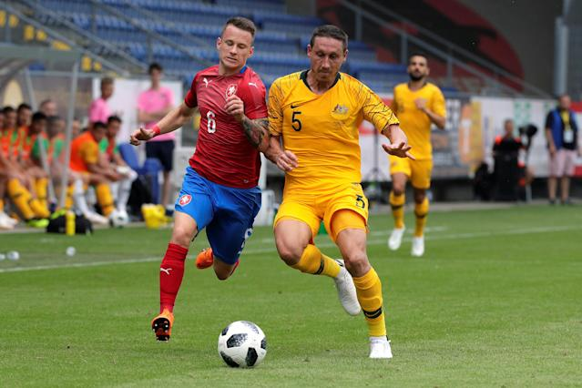 Soccer Football - International Friendly - Czech Republic v Australia - NV Arena, Sankt Polten, Austria - June 1, 2018 Czech Republic's Jan Sykora in action with Australia's Mark Milligan REUTERS/Heinz-Peter Bader