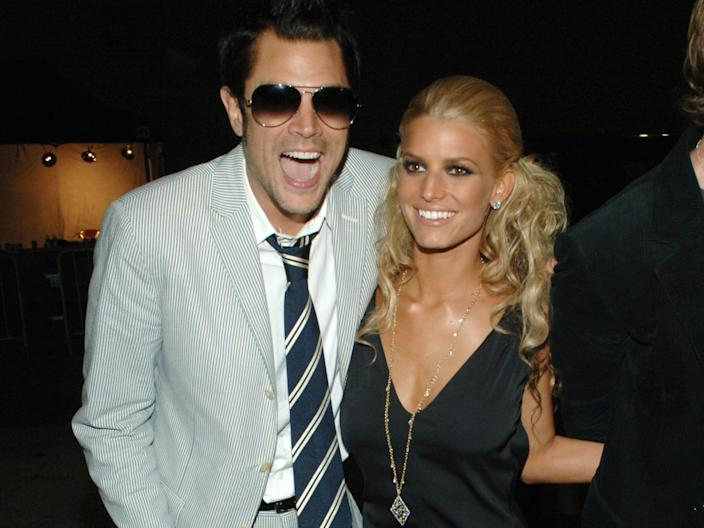 Johnny Knoxville and Jessica Simpson during 2005 MTV Movie Awards