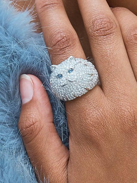 <p>This <span>Kate Spade Pretty Kitty Pavé Ring</span> ($128) is so much fun.</p>