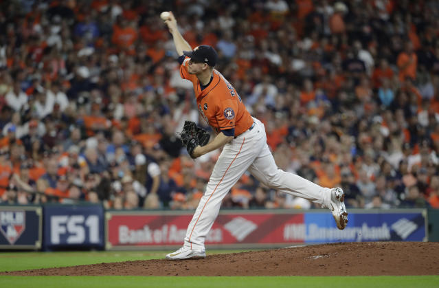 Houston Astros relief pitcher Chris Devenski (47) delivers a pitch against the Boston Red Sox sixth inning in Game 2 of baseball's American League Division Series, Friday, Oct. 6, 2017, in Houston. (AP)