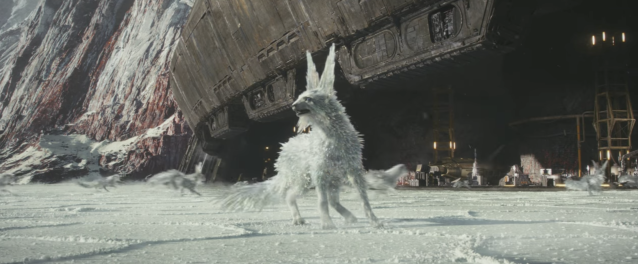 A covey of catlike creatures run for cover on Crait. (Photo: Lucasfilm)