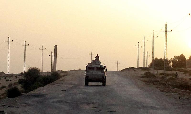 An Egyptian military vehicle patrols in northern Sinai. The military's failings in the fight against Isis there are not due to lack of hardware, analysts say.