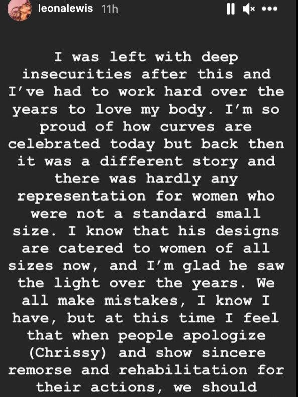 A screengrab of Leona Lewis's Instagram story claiming designer Michael Costello 'humiliated' her (Instagram/screengrab)