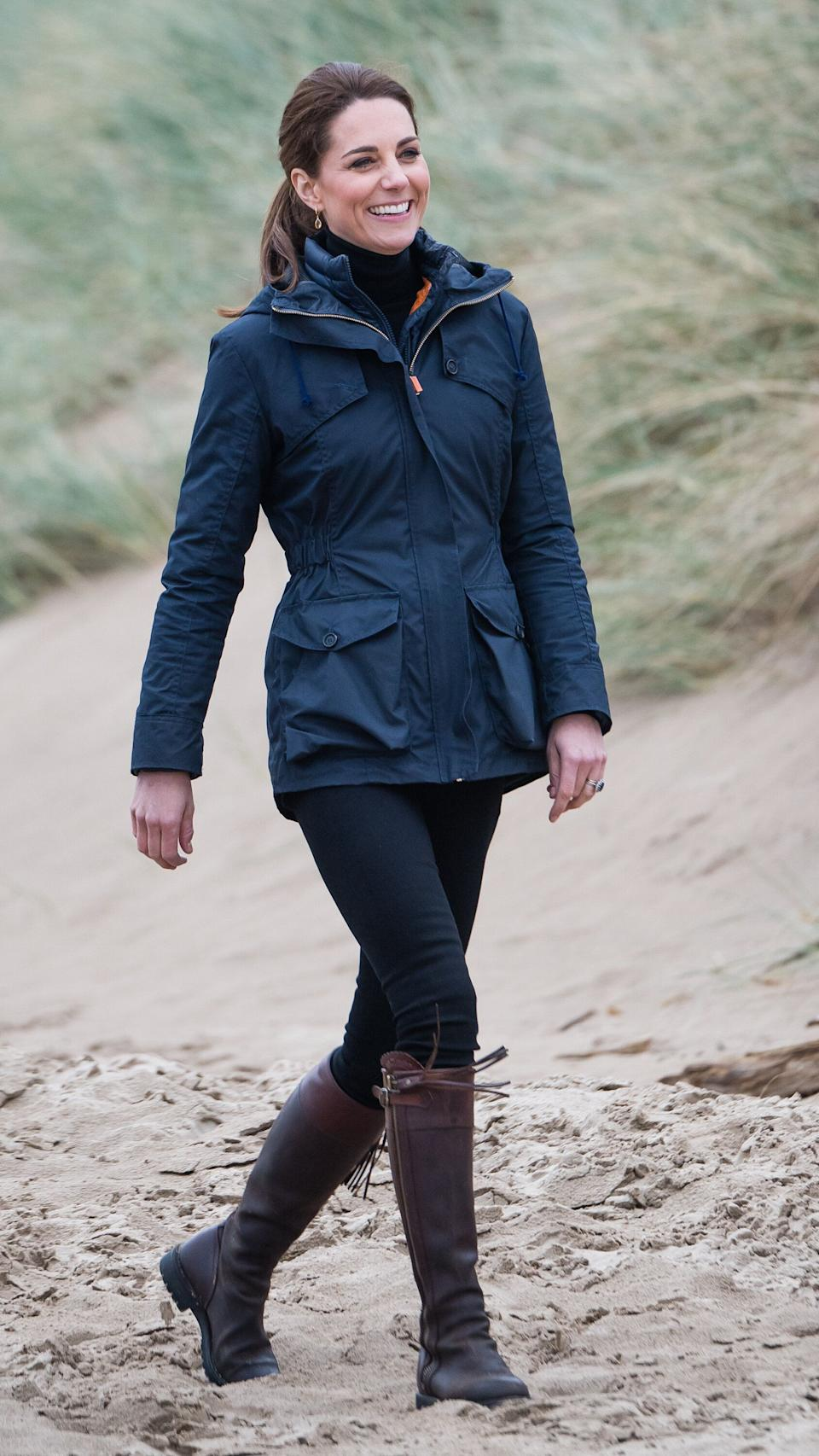 Kate visits Newborough Beach to join the Menai Bridge Scouts during a visit to North Wales on May 8 in Caernarfon, UK.