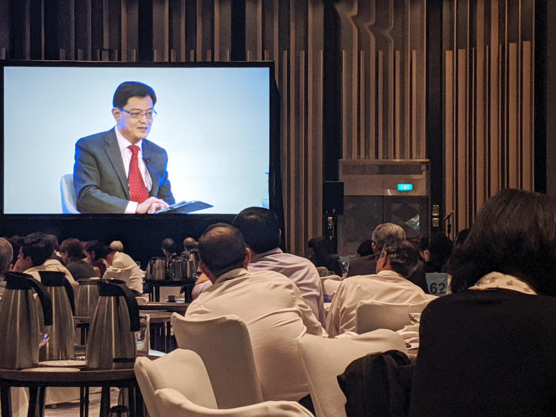 Deputy Prime Minister and Minister for Finance Heng Swee Keat speaking to an audience on the first day of the Singapore Bicentennial Conference on 30 September, 2019. (PHOTO: Yahoo News Singapore)