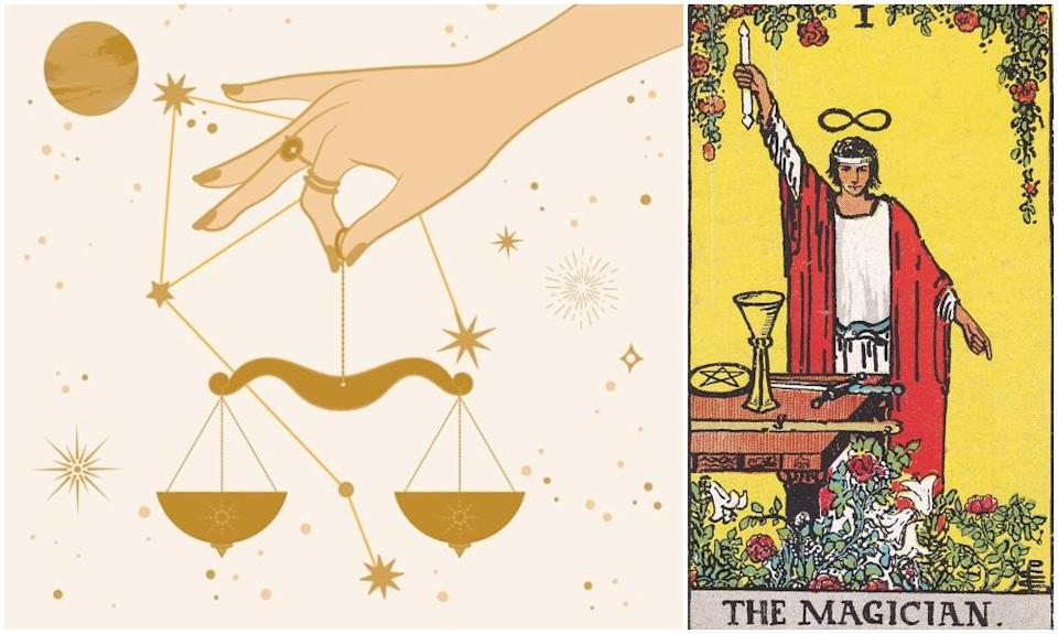 Libra star sign, at left and The Magician card, at right. Photos: Mixkit, Wikimedia Commons