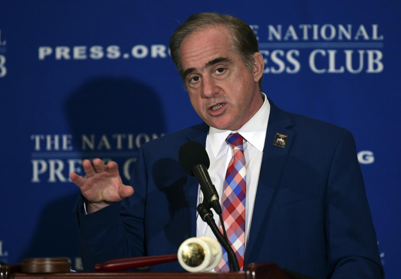 <p> Veterans Affairs Secretary David Shulkin speaks at the National Press Club in Washington, Monday, Nov. 6, 2017. (AP Photo/Susan Walsh) </p>