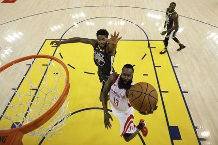 May 22, 2018; Oakland, CA, USA; Houston Rockets guard James Harden (13) shoots the basketball against Golden State Warriors center Jordan Bell (2) during the second half in game four of the Western conference finals of the 2018 NBA Playoffs at Oracle Arena. Mandatory Credit: Marcio Jose Sanchez/Pool Photo via USA TODAY Sports