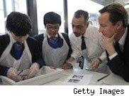 Picture of David Cameron in a science class