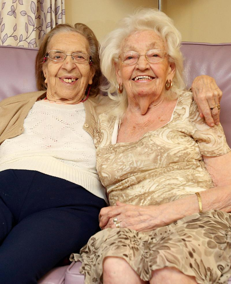 Olive Woodward, left, and Kathleen Saville met in 1941 and have been friends ever since. [Photo: SWNS]