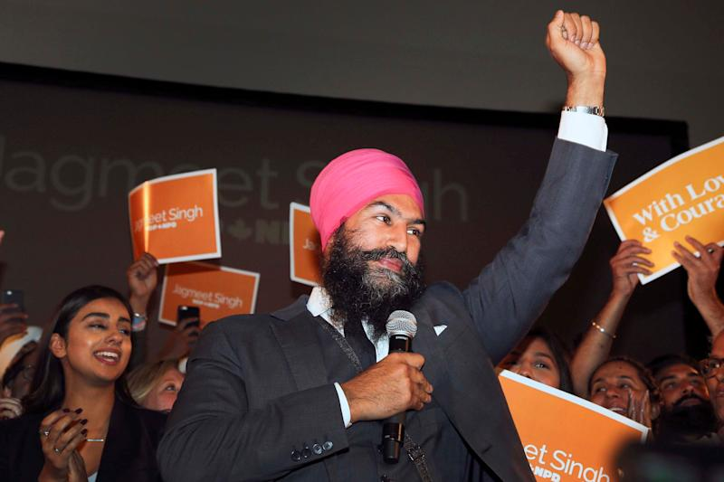 Jagmeet Singh celebrates his win as leader of the New Democratic Party on Oct. 1. 2017.