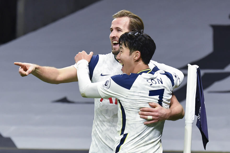 Harry Kane (back) and Son Heung-min give Spurs hope in the title chase despite their recent struggles. (Glyn Kirk/Pool via AP)