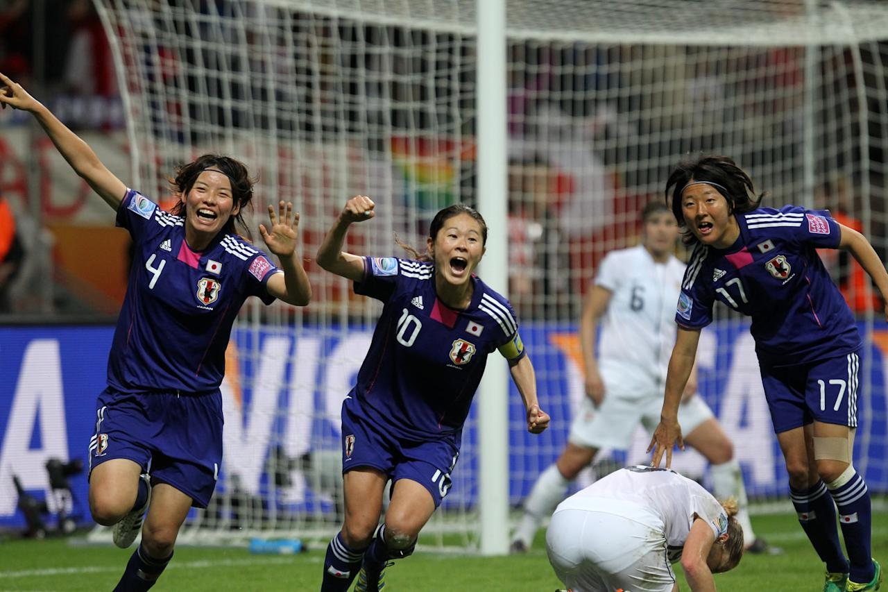 """<p>In 2011, the Japanese women's soccer team became the first Asian team of any gender to win a World Cup. And their victory, over a heavily-favored US team, wasn't just historical. Earlier that year, the Tohoku earthquake and tsunami wreaked havoc in northeastern Japan, <a href=""""https://www.nationalgeographic.org/thisday/mar11/tohoku-earthquake-and-tsunami/"""" target=""""_blank"""" class=""""ga-track"""" data-ga-category=""""Related"""" data-ga-label=""""https://www.nationalgeographic.org/thisday/mar11/tohoku-earthquake-and-tsunami/"""" data-ga-action=""""In-Line Links"""">causing over 15,000 deaths</a> and a meltdown at the Fukushima nuclear plant. Japan's groundbreaking victory on one of sport's largest stages came at the right time, for a country that sorely needed its message of hope and perseverance over adversity.</p>"""