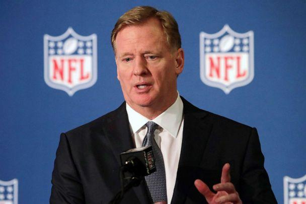PHOTO: In this Dec. 12, 2018, file photo, NFL commissioner Roger Goodell speaks during a news conference in Irving, Texas. (Lm Otero/AP, File)