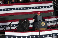 President Donald Trump speaks during a campaign rally at Southern Wisconsin Regional Airport, Saturday, Oct. 17, 2020, in Janesville, Wis. (AP Photo/Alex Brandon)