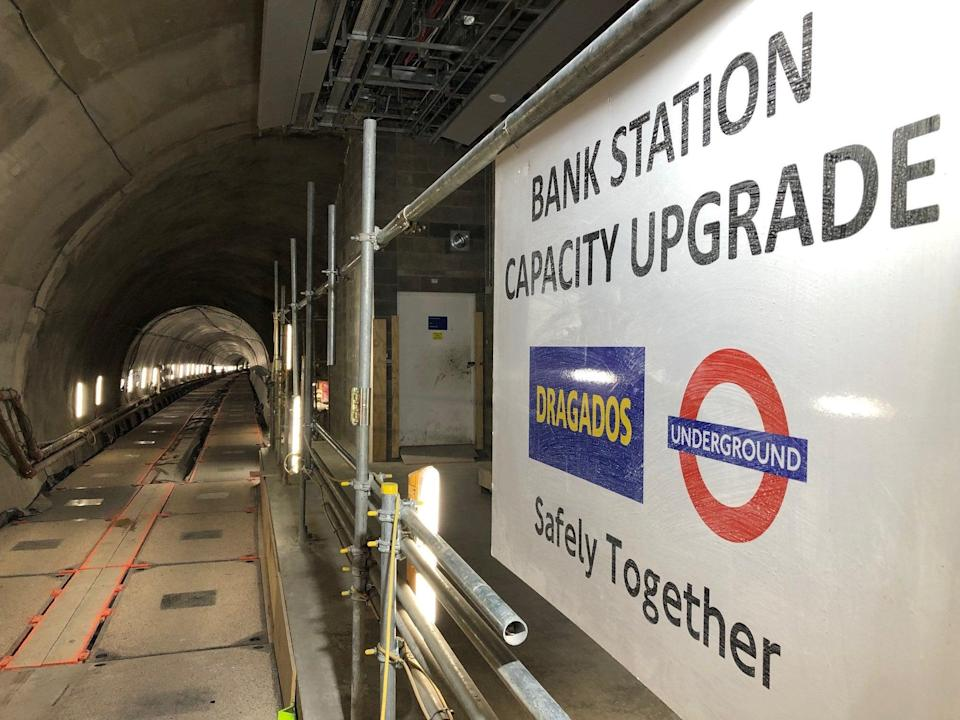 Bank station: new southbound tunnel and platform under construction (Ross Lydall)