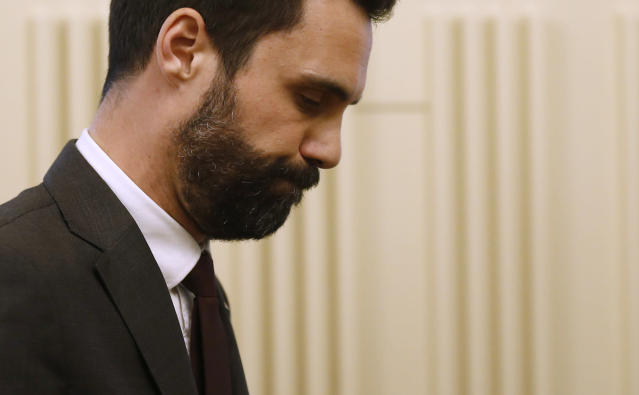 Roger Torrent, Speaker of Catalan Parliament looks down after a press conference at the Catalonia Parliament in Barcelona, Spain, Wednesday, March. 21, 2018. Separatist parties had turned to Sanchez after dropping their bid to re-elect fugitive Catalan ex-president Carles Puigdemont, who fled to Belgium in October. (AP Photo/Manu Fernandez)