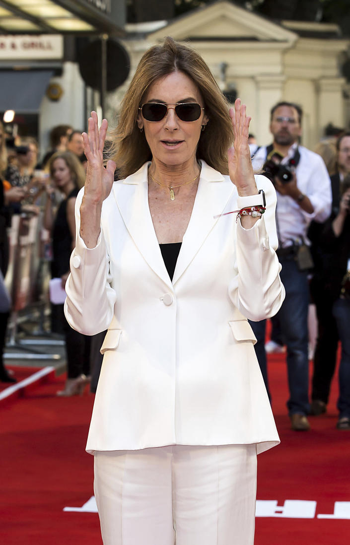 "FILE - Director Kathryn Bigelow poses for photographers as she arrives at the premiere of ""Detroit"" in London on Aug.16, 2017. Bigelow turns 69 on Nov. 27. (Photo by Grant Pollard/Invision/AP, File)"