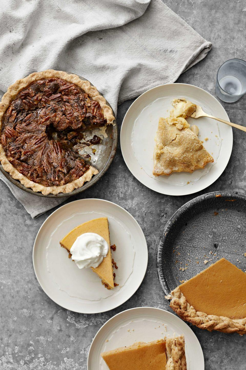"""<p>Both the crust and pie in this recipe can be made up to two days ahead of the celebration, saving you from day-of holiday stress in the kitchen.</p><p><strong>Quick tip:</strong> Use ice-cold butter and water to yield a flaky piecrust—and chill the dough before rolling.</p><p><strong><a href=""""https://www.countryliving.com/food-drinks/recipes/a4097/pumpkin-pie-walnut-crust-recipe-clv1112/"""" rel=""""nofollow noopener"""" target=""""_blank"""" data-ylk=""""slk:Get the recipe"""" class=""""link rapid-noclick-resp"""">Get the recipe</a>.</strong></p>"""