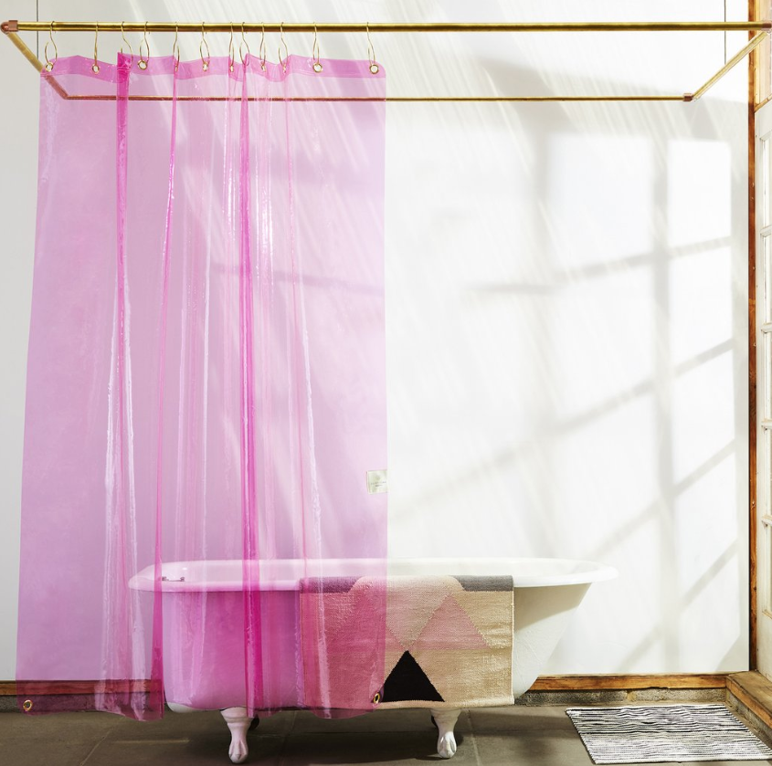 "There's no such thing as boring when there's a fluorescent pink shower curtain involved. <a rel=""nofollow"" href=""https://quiettownhome.com/products/the-sun-shower-phlox"" rel=""nofollow"">SHOP NOW</a>: Sun Shower Phlox Curtain by Quiet Town, $32, quiettownhome.com"