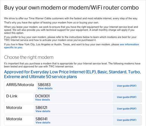 Screenshot of information about buying a WiFi router