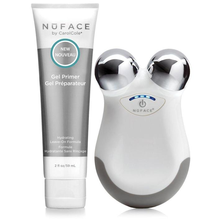 """<p><strong>NuFACE</strong></p><p>amazon.com</p><p><strong>$209.00</strong></p><p><a href=""""https://www.amazon.com/dp/B00JRW7QCC?tag=syn-yahoo-20&ascsubtag=%5Bartid%7C2089.g.256%5Bsrc%7Cyahoo-us"""" rel=""""nofollow noopener"""" target=""""_blank"""" data-ylk=""""slk:Shop Now"""" class=""""link rapid-noclick-resp"""">Shop Now</a></p><p>A true beauty fan knows that this microcurrent tool reigns supreme in the beauty tool department. This mini-sized version of NuFACE's best-selling device is like a HIIT class for your face. It """"exercises"""" the muscles in your face through microcurrent technology that sculpts and tones each and every contour. The results? Cheeks that are sculpted and snatched for days.</p><p>Anyone who's used this device before knows to <em>never</em> use it on bare skin (it'll really hurt, so don't do it), which is why the Leave-On Gel Primer is the perfect skin-saving conductor to protect your skin from this intensive device while pampering your pores with NuFACE's proprietary Phytomoist Complex and hyaluronic acid.</p>"""