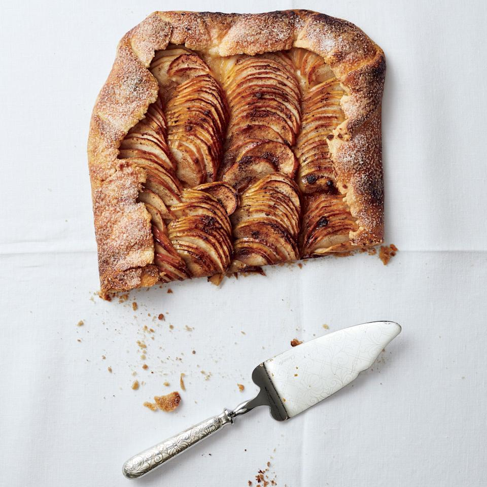 """This laid-back apple galette got a standing ovation during tastings, thanks to its crisp crust and the ideal sweet-salty balance. <a href=""""https://www.epicurious.com/recipes/food/views/salted-butter-apple-galette-with-maple-whipped-cream-51255600?mbid=synd_yahoo_rss"""" rel=""""nofollow noopener"""" target=""""_blank"""" data-ylk=""""slk:See recipe."""" class=""""link rapid-noclick-resp"""">See recipe.</a>"""