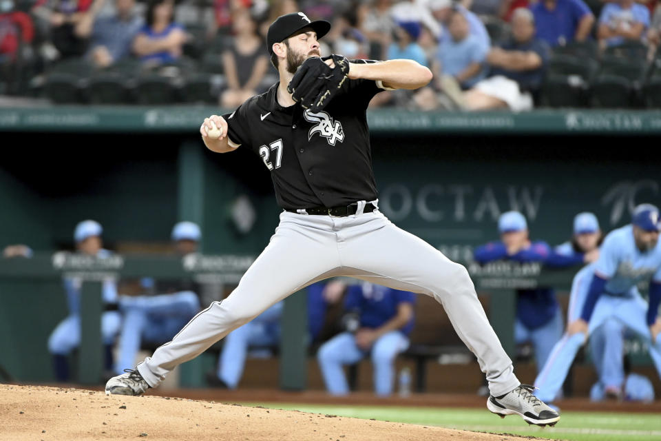 Chicago White Sox starting pitcher Lucas Giolito throws in the third inning of a baseball game against the Texas Rangers in Arlington Texas, Sunday, Sept. 19, 2021. (AP Photo/Matt Strasen)
