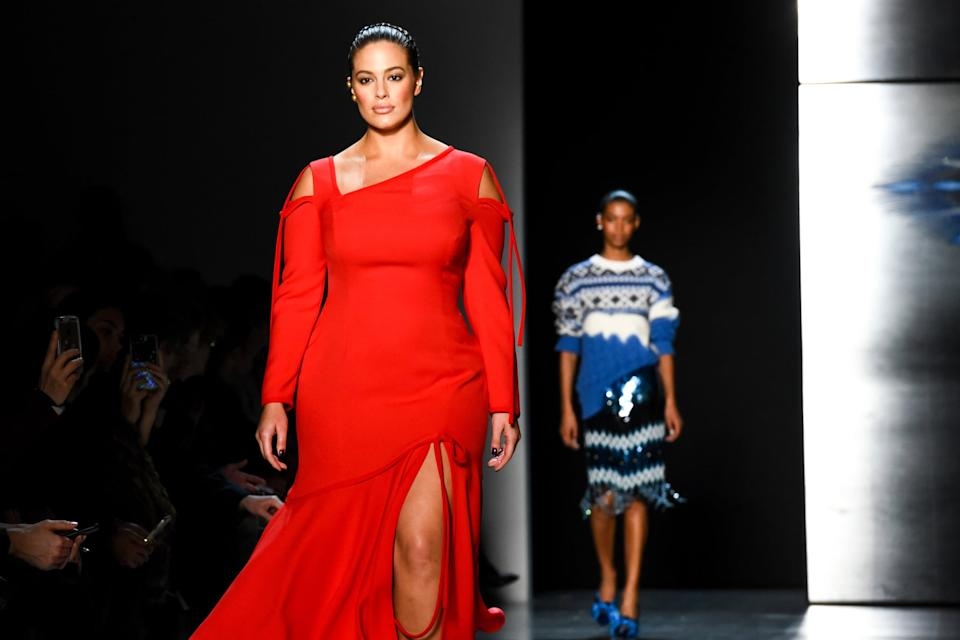 NEW YORK, NY - FEBRUARY 11: Ashley Graham walks the runway at Prabal Gurung - Runway - February 2018 - New York Fashion Week: at Spring Studios on February 11, 2018 in New York City. (Photo by Presley Ann/Patrick McMullan via Getty Images)