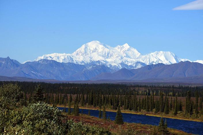 <p>The sky is completely clear over the Denali Mountain, formerly known as Mt. McKinley, at the Denali National Park in Alaska. // September 1, 2015</p>