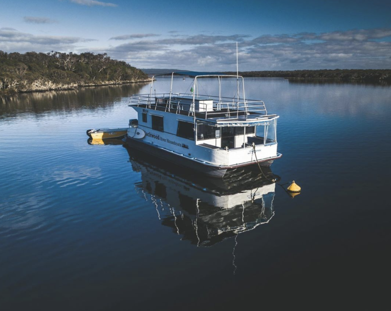 An aerial photo of a Blackwood River houseboat on WA's Margaret River