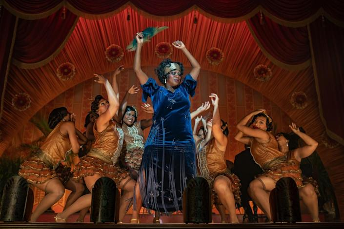 "Viola Davis dancing onstage with a group of backup dancers in ""Ma Rainey's Black Bottom"""