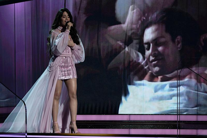 "Camila Cabello performs ""First Man"" as a tribute to her father at the Grammy Awards."