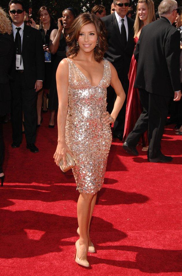 "BEST: Not everyone can pull off a short dress, but ""Desperate Housewives"" actress Eva Longoria stuns in this sparkly Kaufman Franc cocktail dress at the 2007 Emmy Awards. (Photo by Steve Granitz/WireImage)"