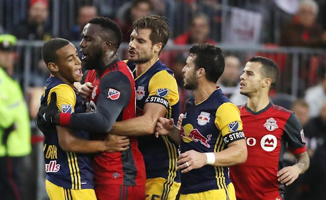 "<a class=""link rapid-noclick-resp"" href=""/soccer/players/jozy-altidore/"" data-ylk=""slk:Jozy Altidore"">Jozy Altidore</a> was given a yellow card for a ridiculous dive, then sent off at halftime for violent conduct in the tunnel. (Getty)"