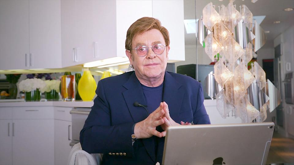 FOX PRESENTS THE IHEART LIVING ROOM CONCERT FOR AMERICA: Host Elton John during the FOX PRESENTS THE IHEART LIVING ROOM CONCERT FOR AMERICA, a music event to provide entertainment relief and support for Americans to help fight the spread of the COVID-19 virus and to celebrate the resilience and strength of the nation during this pandemic. The one-hour benefit special will air on Sunday, March 29, from 9:00-10:00 PM ET/6:00-7:00 PM PT on FOX, on iHeartMedia radio stations nationwide and via the iHeartRadio app. The benefit special will be broadcast commercial-free.(Photo by FOX via Getty Images)