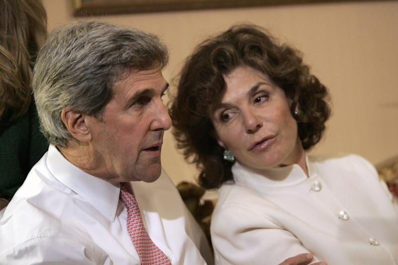 <p> FILE - In a Tuesday, Nov. 4, 2008 file photo, Sen. John Kerry, D-Mass, left, talks with his wife Teresa Heinz Kerry while watching election results at a hotel in Boston, in Boston. A hospital spokesman says Teresa Heinz Kerry is hospitalized Sunday, July 7, 2013 in critical but stable condition in a hospital on the island of Nantucket, Mass. (AP Photo/Michael Dwyer, File)
