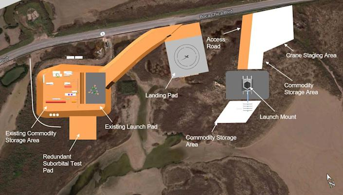 spacex starship launch site boca chica texas may 2020 written reevaluation environmental impact statement wr eis drawing diagram 1