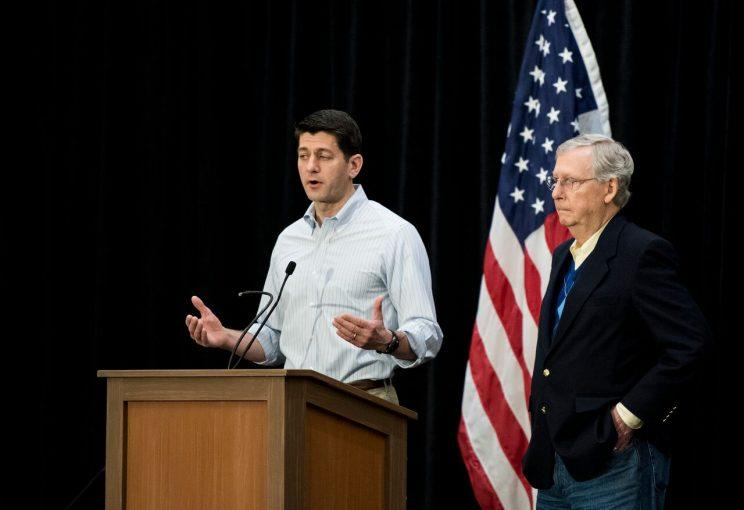 Speaker of the House Paul Ryan, R-Wisc., and Senate Majority Leader Mitch McConnell, R-Ky., speak to reporters at the GOP retreat in Philadelphia on Thursday, Jan. 26, 2017. House and Senate Republicans are holding their retreat through Friday in Philadelphia. (Photo: Bill Clark/CQ Roll Call/Getty Images)