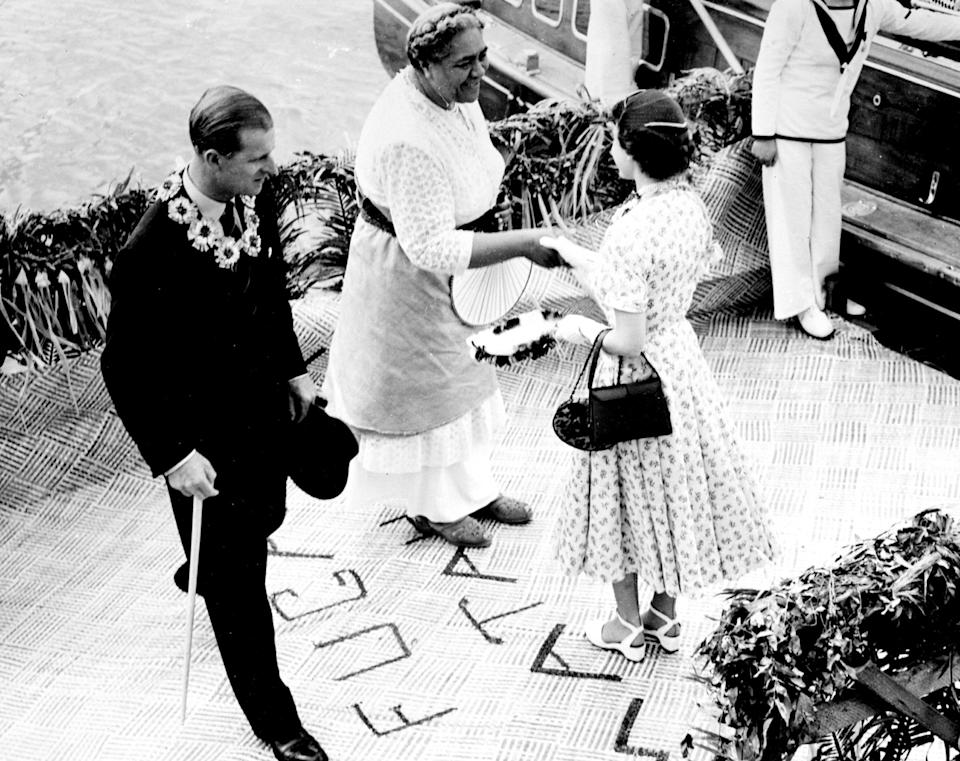 The Queen and the Duke of Edinburgh with the Queen of Tonga, in 1953 (PA)