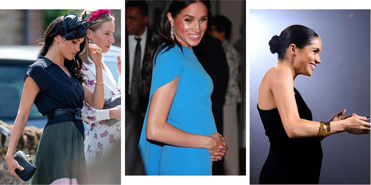 """<p>It's all happening for Meghan Markle and Prince Harry this year. After getting engaged in November 2017, the couple got married at Windsor Castle in May, and in October they announced they were expecting a baby. </p><p>While the pregnancy announcement was met with excitement from royal fans, it didn't particularly surprise anyone. Speculation had been running rife about Meghan being pregnant since the Duke and Duchess of Sussex got married, and onlookers would take anything from <a rel=""""nofollow"""" href=""""https://www.cosmopolitan.com/uk/reports/a23449628/meghan-markle-new-hair-pregnant-hint/"""">hairstyles</a>, to <a rel=""""nofollow"""" href=""""https://www.cosmopolitan.com/uk/reports/a22112279/is-meghan-markle-pregnant/"""">photographs</a>, to <a rel=""""nofollow"""" href=""""https://www.cosmopolitan.com/uk/reports/a23734967/meghan-markle-pregnant-speculation-coat-princess-eugenie-wedding/"""">outfit choices</a> as potential evidence to back up their theory.</p><p>But these theories, it seems, were mostly correct. And now we come to look more closely, we can see the teeny tiny evolution of Meghan's bump from non-existent to now, when she's just a month away from giving birth.</p>"""