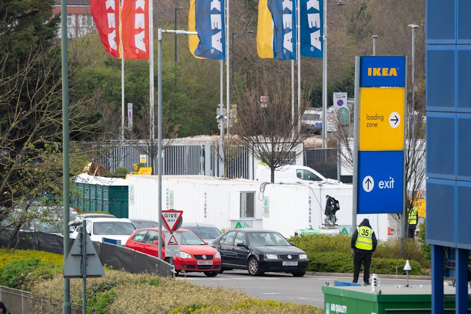 ***RESUBMITTED to HIDE NUMBER PLATES. PLEASE DISREGARD PREVIOUS VERSION***  NHS staff are tested for the Covid-19 virus at a drive-through testing centre set up in the car park of an IKEA store in Wembley, London. Photo date: Tuesday, March 31, 2020. Photo credit should read: Richard Gray/EMPICS