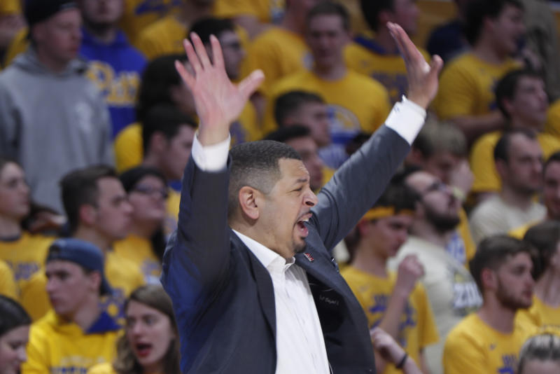 Pittsburgh head coach Jeff Capel signals to his team as they play against Boston College during the second half of an NCAA college basketball game, Wednesday, Jan. 22, 2020, in Pittsburgh. Pittsburgh won 74-72. (AP Photo/Keith Srakocic)