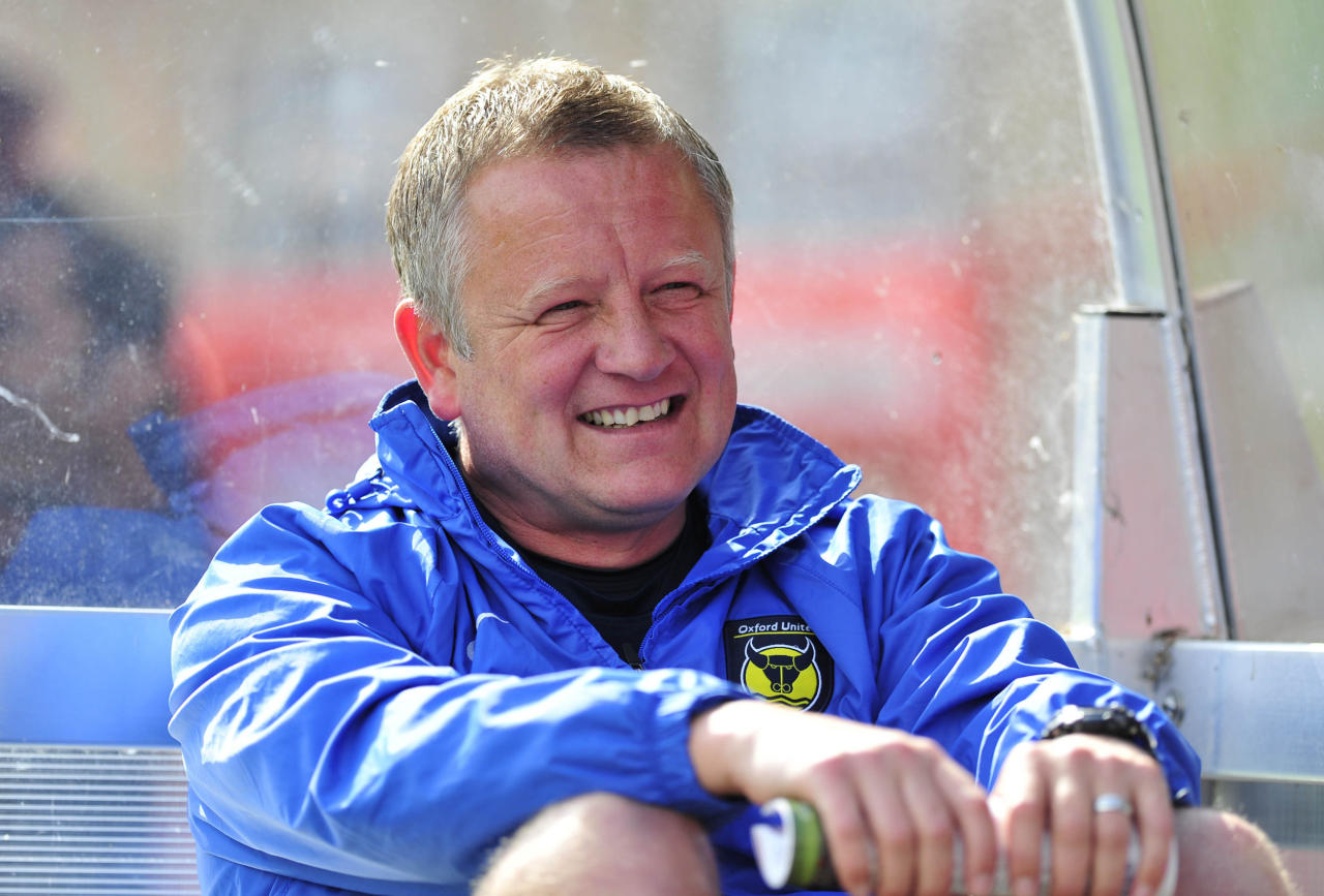 Oxford United manger Chris Wilder before the Sky Bet League Two match at the Abbey Business Stadium, Cheltenham.