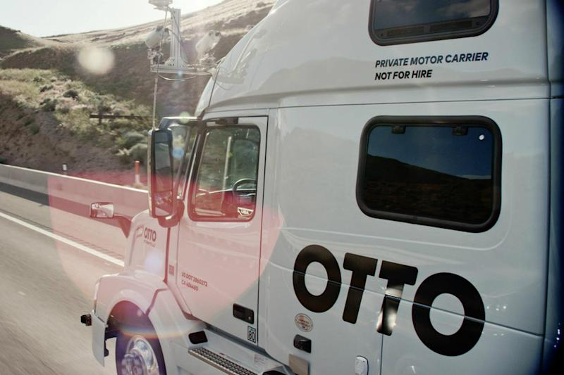 otto self driving truck testing ohio on the road