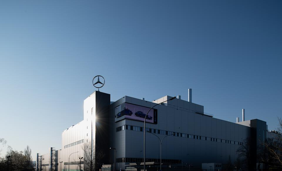 SINDELFINGEN, GERMANY - APRIL 08: The Mercedes-Benz factory, where car production has been halted, seen during the coronavirus crisis on April 8, 2020 in Sindelfingen, Germany. Auto production among Germany's major car companies, including Mercedes, Volkswagen and BMW, was halted approximately three weeks ago due to consequences created by the spread of the coronavirus across Europe. Workers at the Mercedes Sindelfingen plant are receiving 80% of their wages through Germany's federal Kurzarbeit program and Daimler AG, Mercedes's parent company, is topping it up to 90%. How long this can last though remains uncertain as the number of cases of Covid-19 infection, in Germany now at over 100,000, continues to rise as does the number of deaths. (Photo by Matthias Hangst/Getty Images)