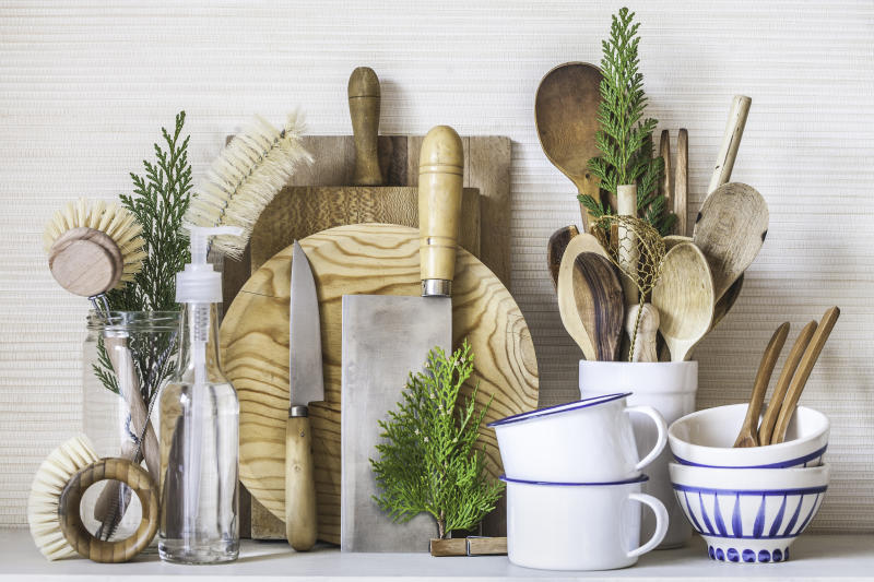An assembling of items from a zero waste kitchen. Using natural and renewable or biodegradable materials, this kitchen has everything you need to cook and clean your dishes with minimal impact on the environment, and looking elegant at the same time.