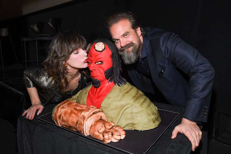 TORONTO, ONTARIO - APRIL 10: Actors Milla Jovovich and David Harbour attend the Hellboy Canadian Premiere held at Scotiabank Theatre on April 10, 2019 in Toronto, Canada. (Photo by GP Images/Getty Images)