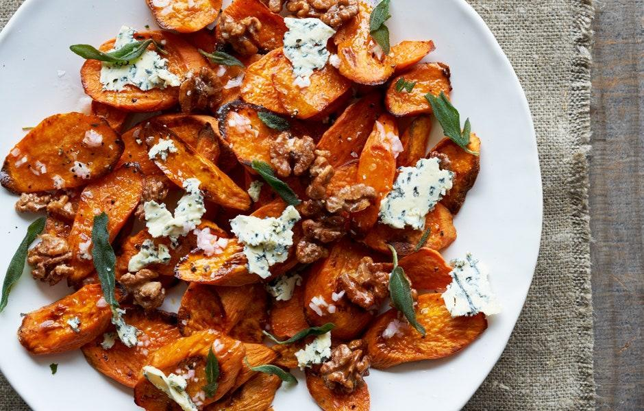 "In place of Stilton, you could use a creamy blue cheese, like Gorgonzola dolce, which is a little less assertive. <a href=""https://www.bonappetit.com/recipe/sweet-potatoes-with-stilton-and-walnuts?mbid=synd_yahoo_rss"" rel=""nofollow noopener"" target=""_blank"" data-ylk=""slk:See recipe."" class=""link rapid-noclick-resp"">See recipe.</a>"
