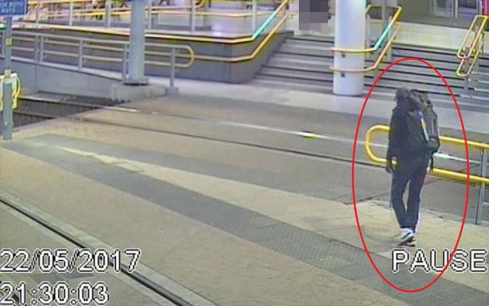 CCTV image of Salman Abedi at Victoria Station making his way to the Manchester Arena, on May 22, 2017, where he detonated his bomb - GMP/PA